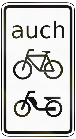 specify: German traffic sign additional panel to specify the meaning of other signs: Also for cyclists and moped riders. Stock Photo