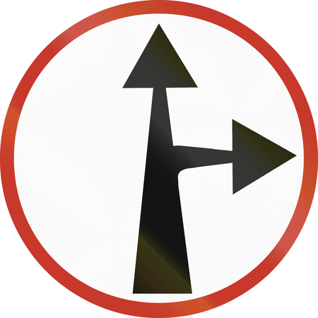 restricting: Old design (1953) of a German sign restricting the driving direction to straight forward or right.