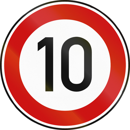 restricting: German traffic sign restricting speed to 10 kilometers per hour.