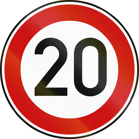 restricting: German traffic sign restricting speed to 20 kilometers per hour.