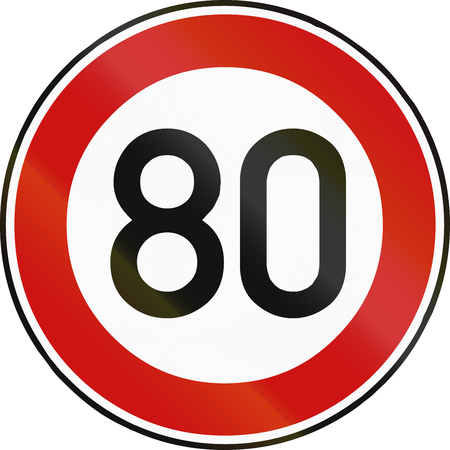 restricting: German traffic sign restricting speed to 50 kilometers per hour.
