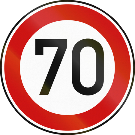 restricting: German traffic sign restricting speed to 70 kilometers per hour. Stock Photo