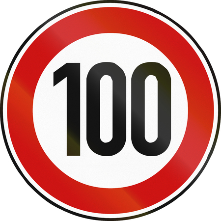 restricting: German traffic sign restricting speed to 100 kilometers per hour.