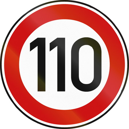restricting: German traffic sign restricting speed to 110 kilometers per hour.