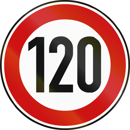 restricting: German traffic sign restricting speed to 120 kilometers per hour. Stock Photo