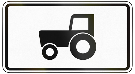 specify: German traffic sign additional panel to specify the meaning of other signs: TractorsSlow vehicles only.