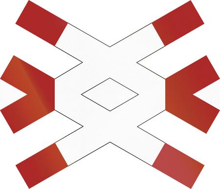 double cross: Warnkreuz.German segnale di avvertimento per non custodito multitraccia passaggio a livello.