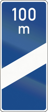 image created 21st century: German highway countdown marker announcing highway exit in 100 meters. Stock Photo