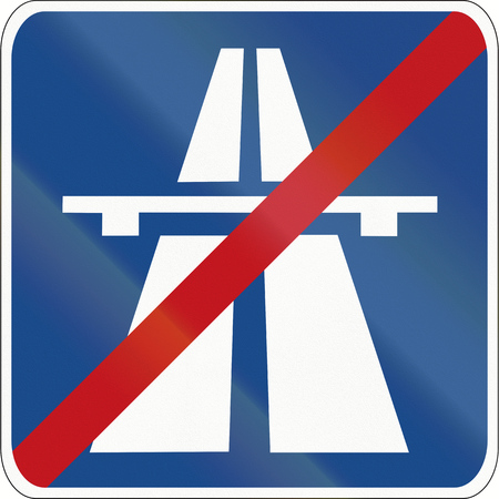 no way out: German traffic sign: Beginning of motorway or Autobahn. Stock Photo