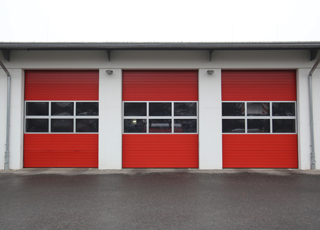 image created 21st century: Row of garages of a public fire station in Germany. Stock Photo