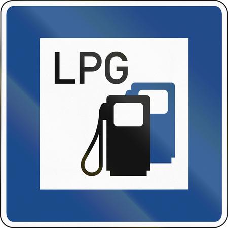 독일어 교통 표지 : 액화 석유 가스 (LPG)와 주유소. 스톡 콘텐츠