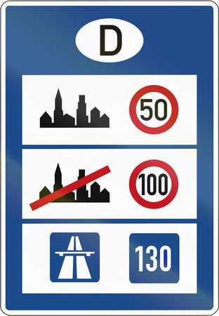 limits: Information at border crossings about german speed limits and advised speed on motorways. Stock Photo