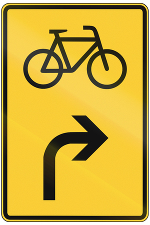 right handed: German direction sign announcement for bicycles.