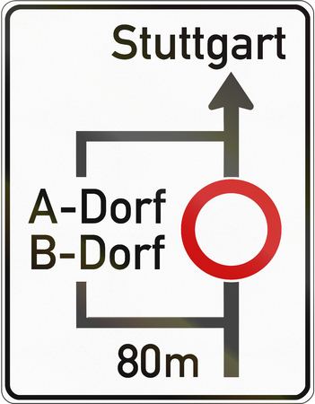 German Schematic Announcement Of Deviation Route. Dorf Means.. Stock ...