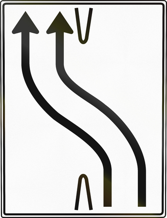 carriageway: German traffic sign: Transfer to other lanes or carriageway.