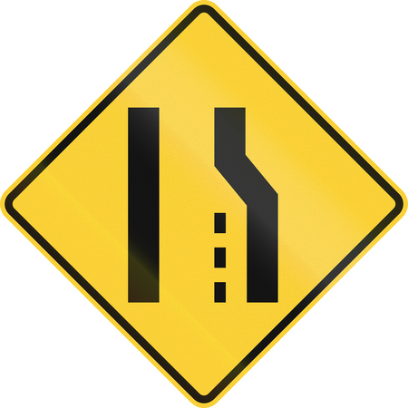 right handed: US road warning sign: Right lane ends or road narrows from the right