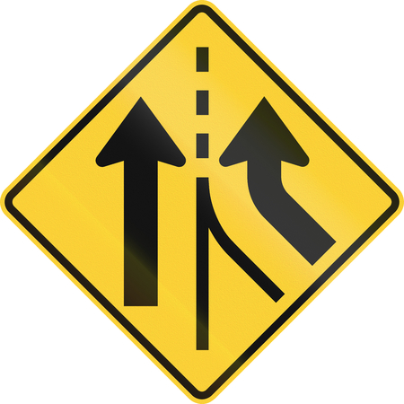 merging: US road warning sign: Merging