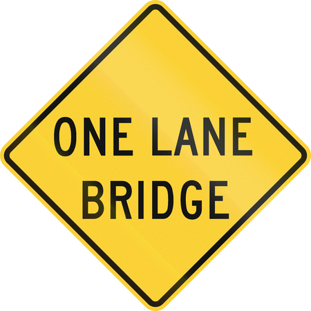one lane road sign: US road warning sign: One lane bridge Stock Photo