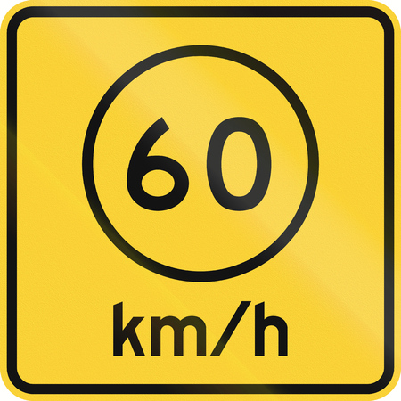 kmh: US road warning sign: Advised speed 60 kmh