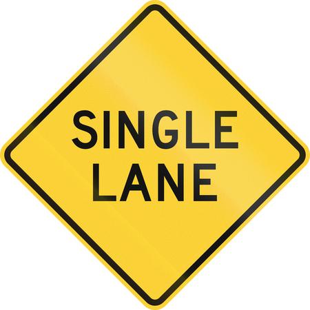one lane roadsign: US road warning sign: One lane road ahead Stock Photo