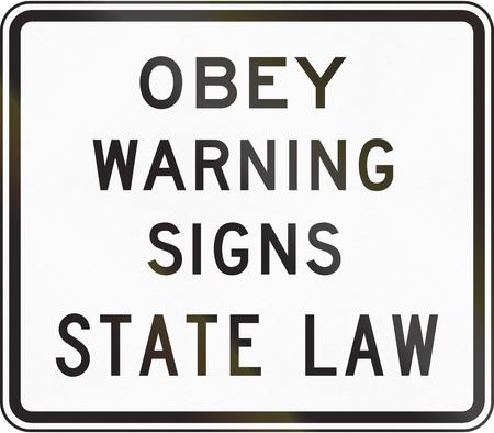 obey: Se�al de tr�fico de los Estados Unidos: Obedecer las se�ales de advertencia de la ley estatal Foto de archivo