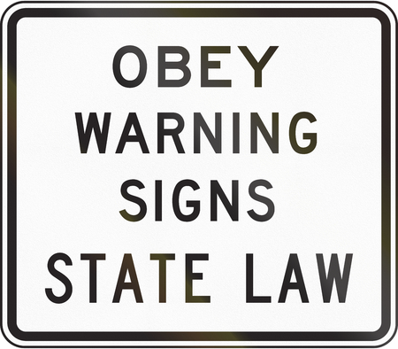 obey: US traffic sign: Obey warning signs of state law Stock Photo