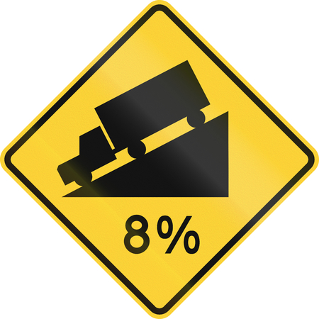 percentage sign: US road warning sign: hillsteep grade with percentage sign Stock Photo