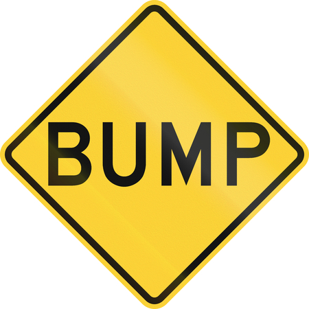 bump: US road warning sign: Bump