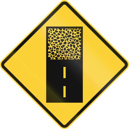 US road warning sign: Pavement ends Zdjęcie Seryjne