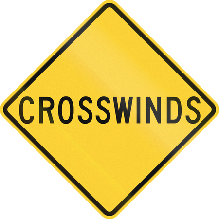 road warning sign: US road warning sign: Crosswinds