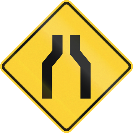 one lane road sign: US road warning sign: One lane road ahead Stock Photo