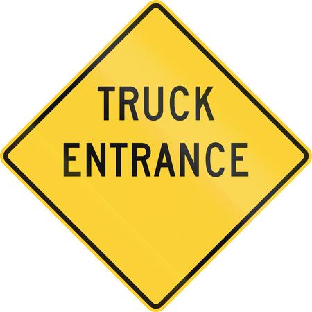 camioneta pick up: EE.UU. advertencia se�al de tr�fico: entrada de camiones Foto de archivo