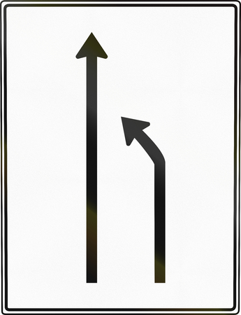 German road sign: Turn to other lane.