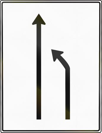 one lane roadsign: German road sign: Turn to other lane.