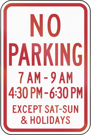 no parking sign: US traffic sign: Standard no parking sign with time restriction, Pennsylvania.