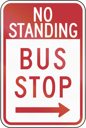red handed: US traffic sign: No Standing - Bus Stop, Philadelphia Stock Photo