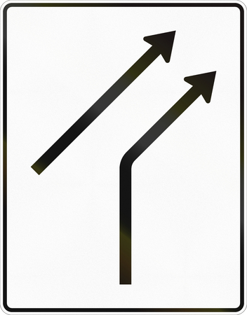 one lane road sign: German road sign: One road merges into carriageway with one lane.