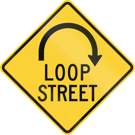 reversing: US road warning sign: Loop street sign