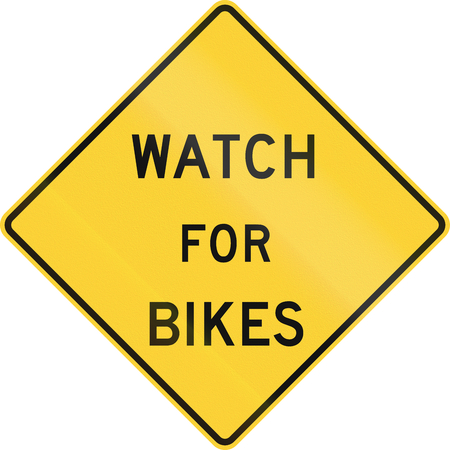 US warning traffic sign: Watch for bikes. photo