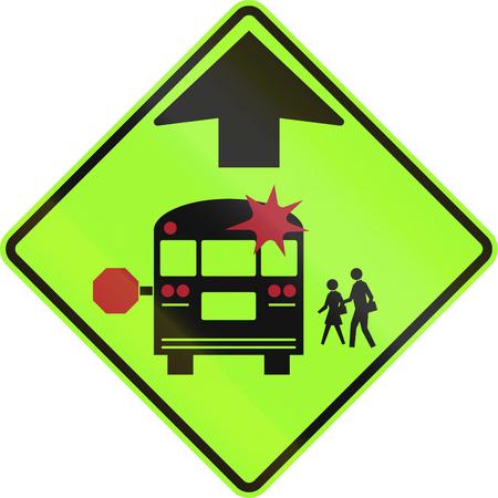United states school warning sign: School bus stop ahead. photo