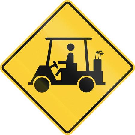 미국 도로 표지판 : 골프 카트 횡단 스톡 콘텐츠