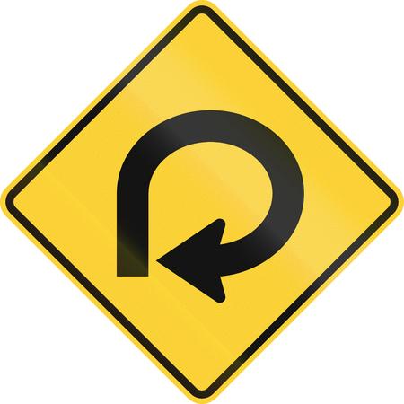 left arrow: US road warning sign: 270 degree loop Stock Photo