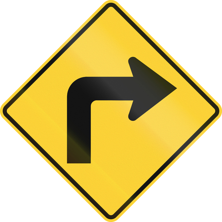 handed: US road warning sign: Right curve ahead