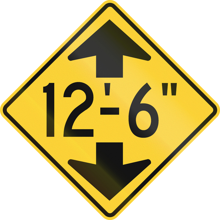6 12: US road warning sign: Low clearance in imperial units