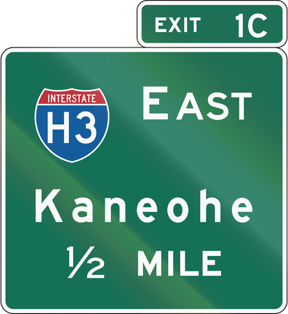 United States Interchange Advance Guide Signs, Hawaii Stock Photo