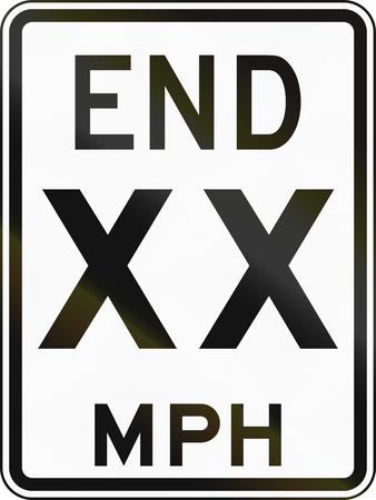 mph: United States End 50 MPH sign, Delaware