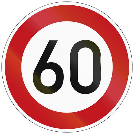 image created 21st century: German traffic sign restricting speed to 60 kilometers per hour.