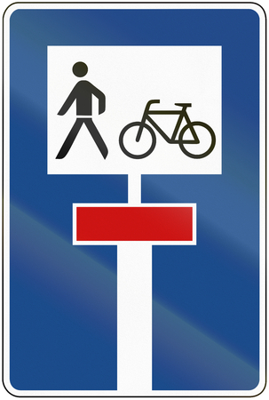 continued: German traffic sign: dead end street continued by a bikepath and footpath.