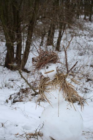 image date: Rural snowman, made with sticks and reed.