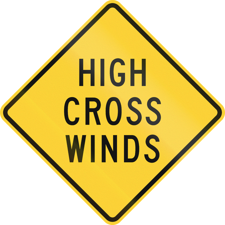 high winds: US road warning sign: High cross winds